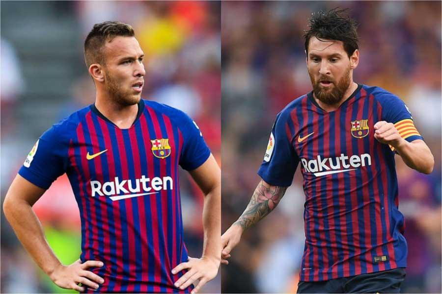 (左から)バルセロナMFアルトゥール、FWメッシ【写真:Getty Images】
