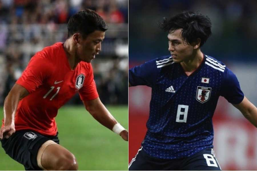 (左から)韓国代表FWファン・ヒチャン、日本代表MF南野【写真:Getty Images】