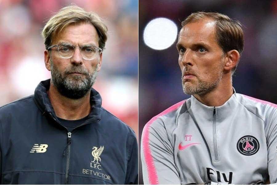 (左から)リバプールのクロップ監督、PSGのトゥヘル監督【写真:Getty Images】