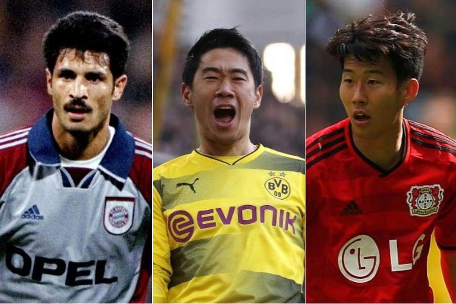 (左から)FWアリ・ダエイ、MF香川、FWソン・フンミン【写真:Getty Images】