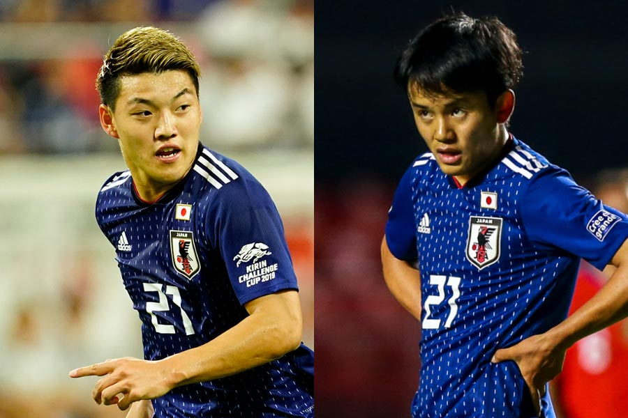 (左から)MF堂安、MF久保建英【写真:Yukihito Taguchi&Getty Images】