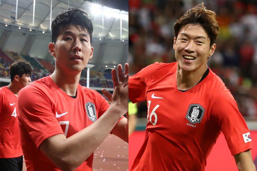(左から)韓国代表FWソン・フンミン、FWファン・ウィジョ【写真:Getty Images】