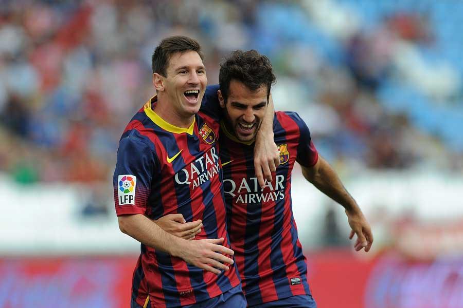 バルセロナ時代のFWメッシ(左)とMFセスク【写真:Getty Images】