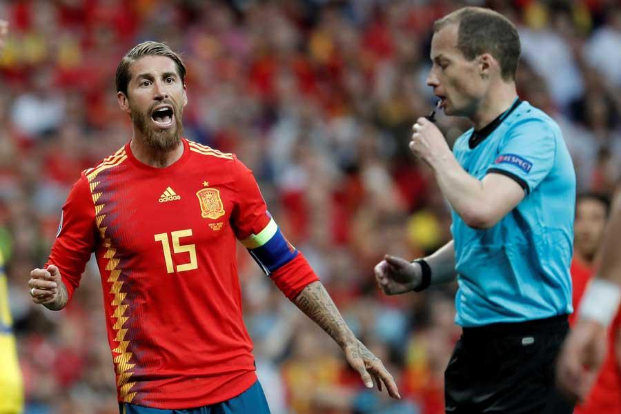 先制点を決めた主将のスペイン代表DFセルヒオ・ラモス【写真:Getty Images】