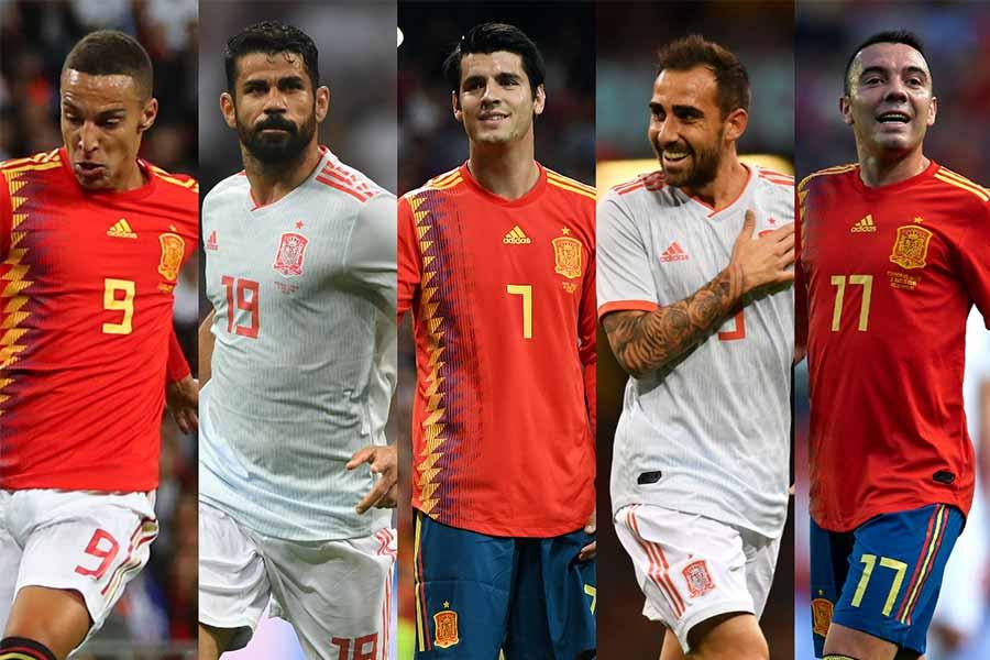 (左から)ロドリゴ、ジエゴ・コスタ、アルバロ・モラタ、パコ・アルカセル、イアゴ・アスパス【写真:Getty Images】