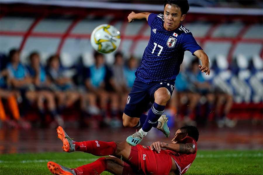 日本代表におけるW杯予選の史上最年少出場記録を樹立したMF久保建英【写真:Yukihito Taguchi】