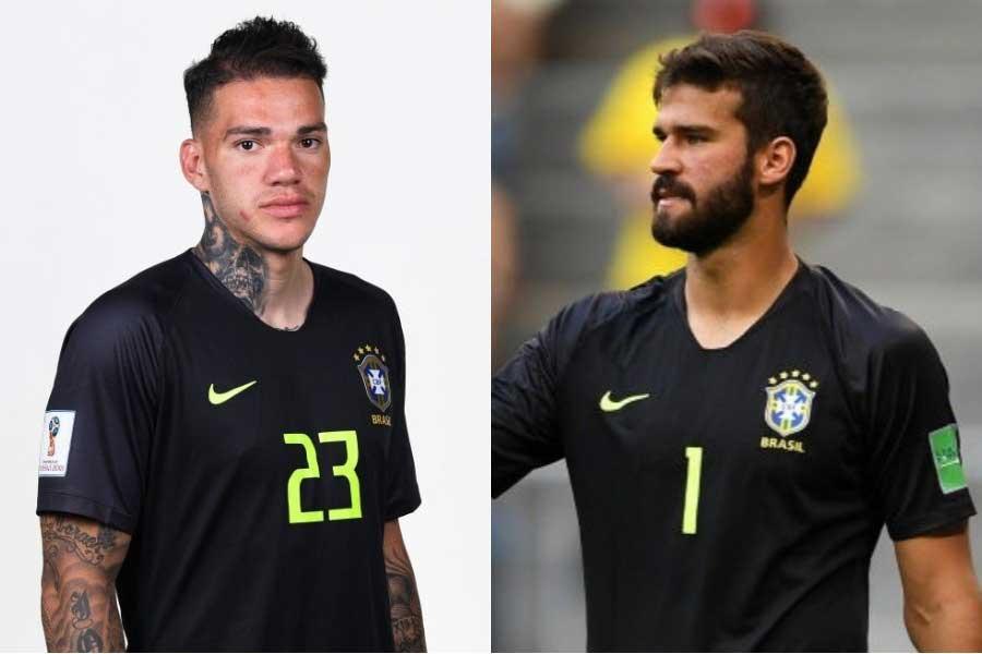 (左から)ブラジル代表GKエデルソン、GKアリソン【写真:Getty Images】