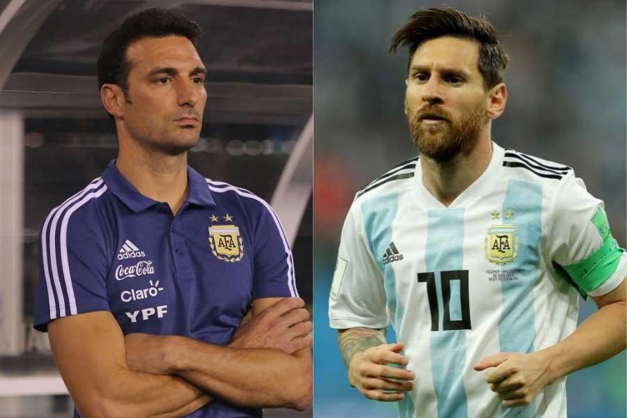 (左から)アルゼンチン代表のスカローニ暫定監督、FWメッシ【写真:Getty Images】