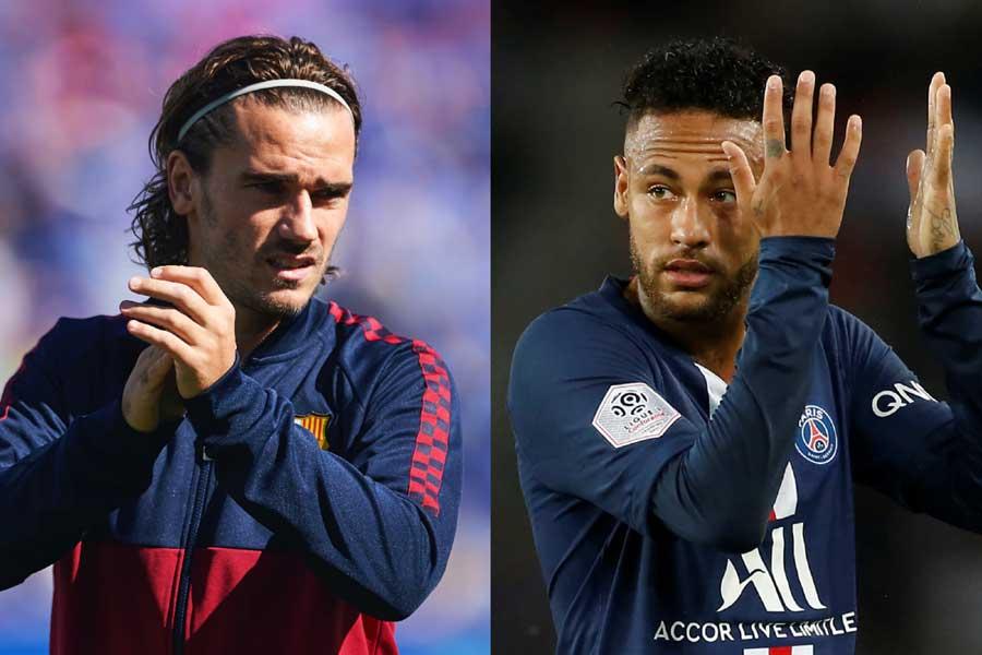 バルセロナのフランス代表FWグリーズマン、PSGのブラジル代表FWネイマール【写真:Getty Images】