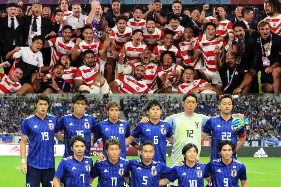 ラグビー日本代表(上)とサッカー日本代表【写真:Getty Images & Noriko NAGANO】