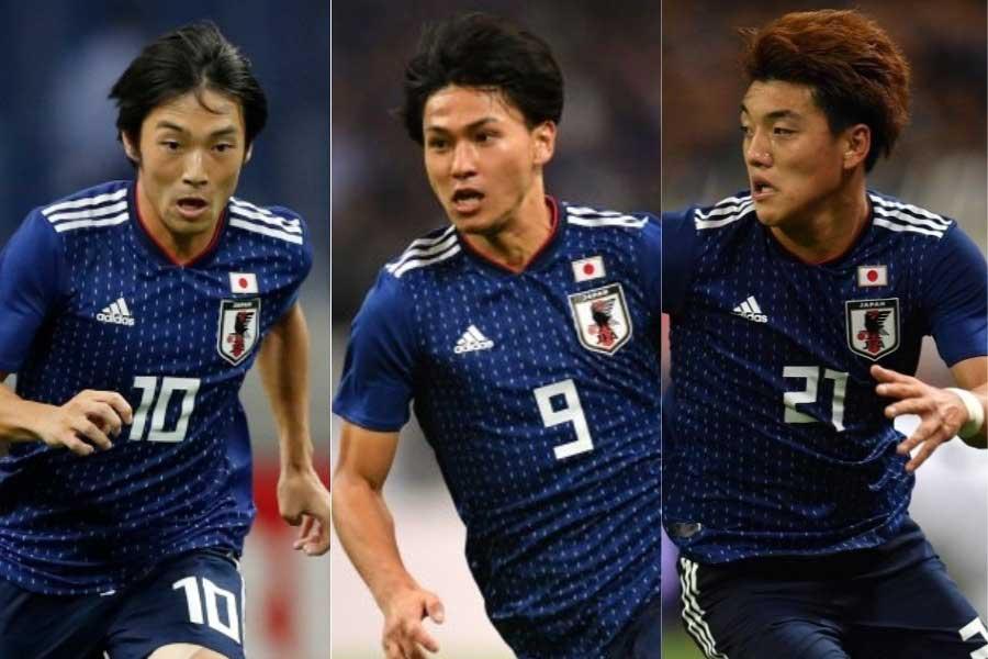 (左から)日本代表MF中島、MF南野、MF堂安【写真:田口有史&Getty Images】