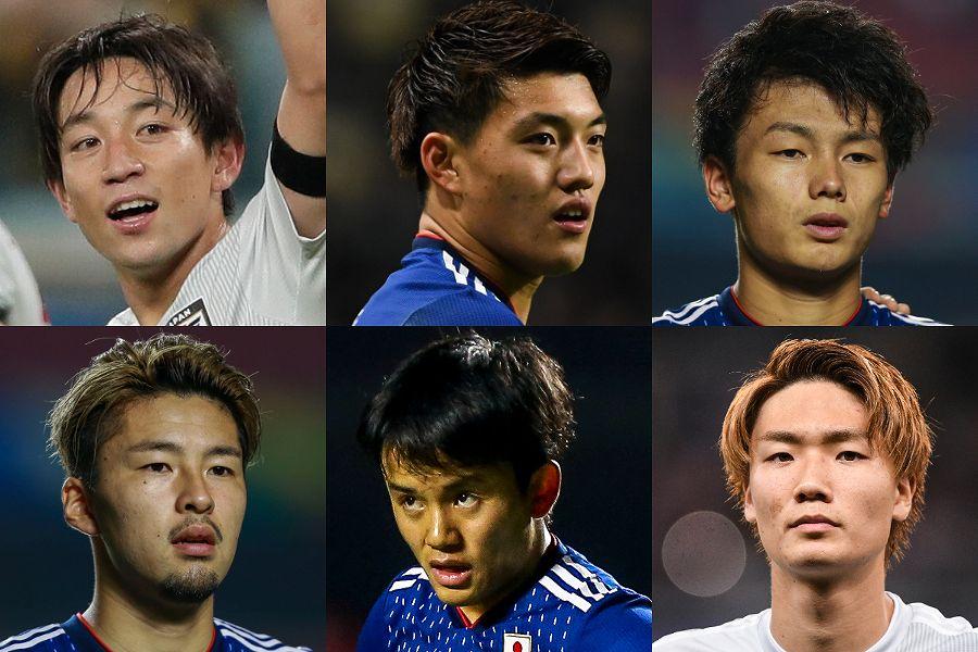 U-22日本代表の左上からMF三好、堂安、FW上田、MF中山、久保、DF板倉【写真:Getty Images】