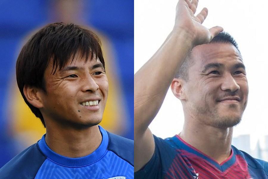 「髪型が同じ」と言われたエイバルMF乾(左)とウエスカFW岡崎【写真:Getty Images&SD Huesca】