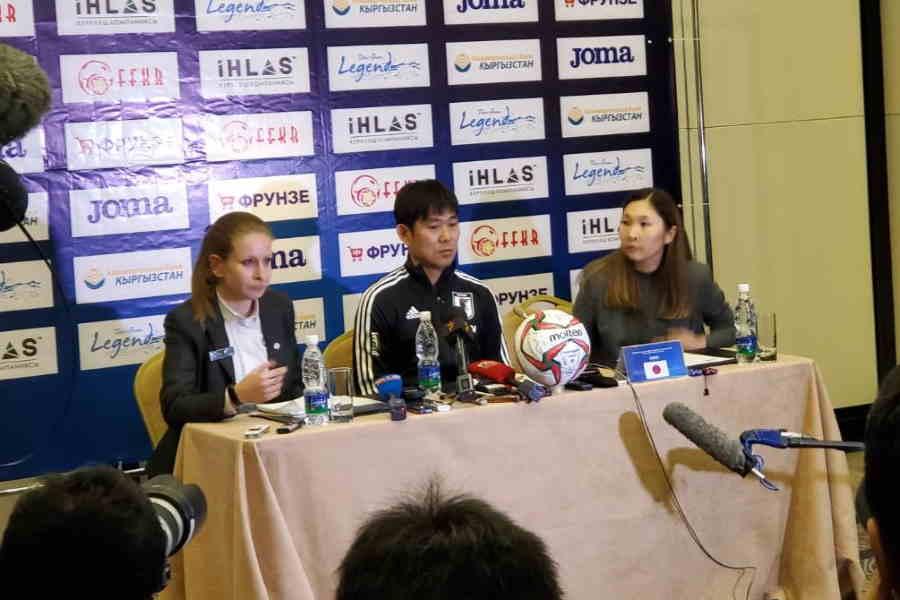 日本代表の森保一監督は会見に臨んだ【写真:Football ZONE web】