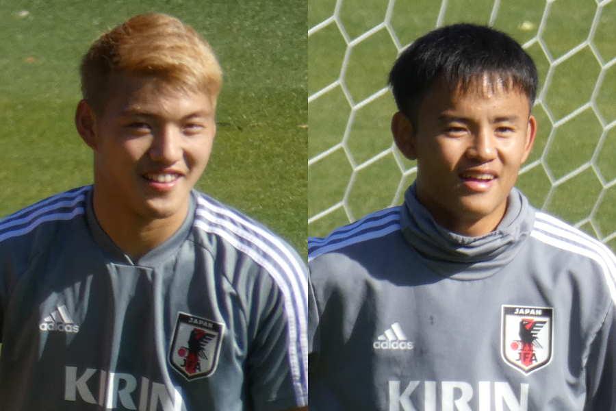 U-22日本代表として活動中の堂安(左)と久保【写真:Football ZONE web】