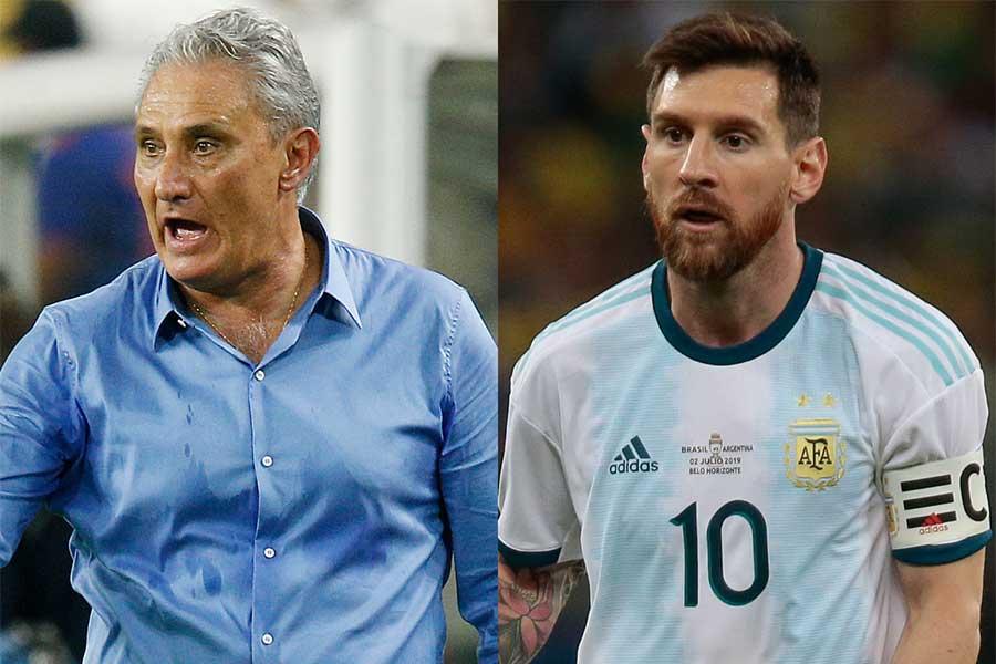 アルゼンチン代表リオネル・メッシとブラジル代表のチッチ監督のやり取りが話題に【写真:Getty Images】