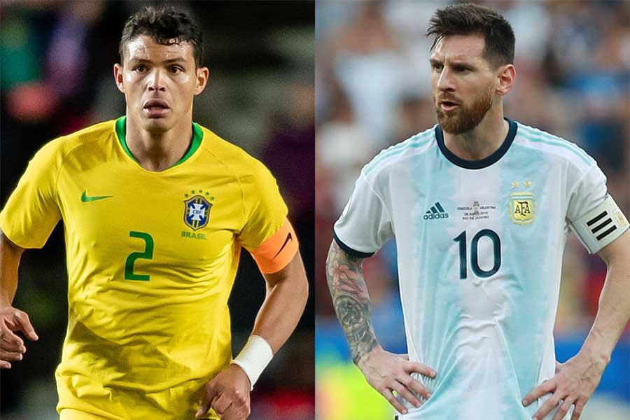 ブラジル代表DFチアゴ・シウバがアルゼンチン代表FWリオネル・メッシを批判【写真:Getty Images】