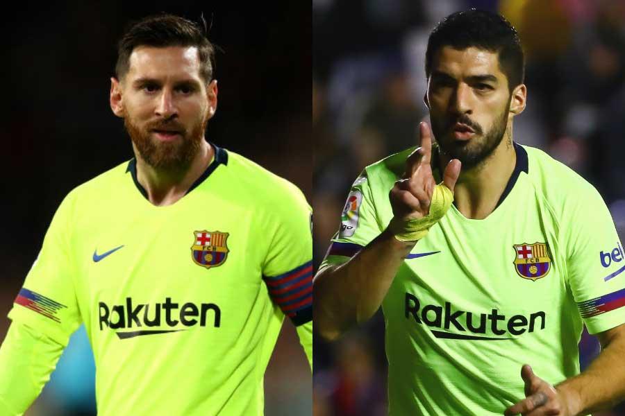 (左から)バルセロナFWメッシ、FWスアレス【写真:Getty Images&AP】