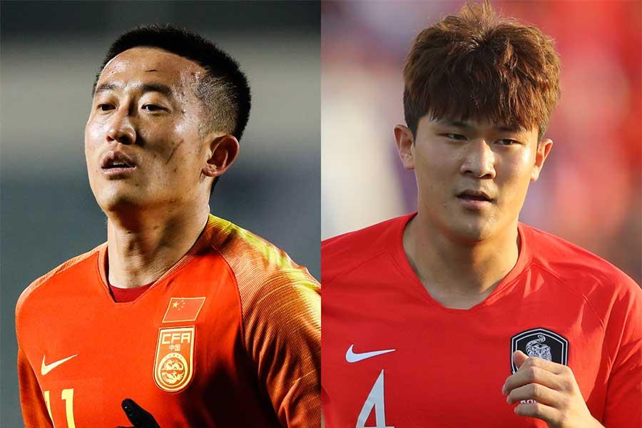 中国代表DFジャン・ジーポン(左)のラフプレーに韓国代表キDFキム・ミンジェが言及【写真:Getty Images】