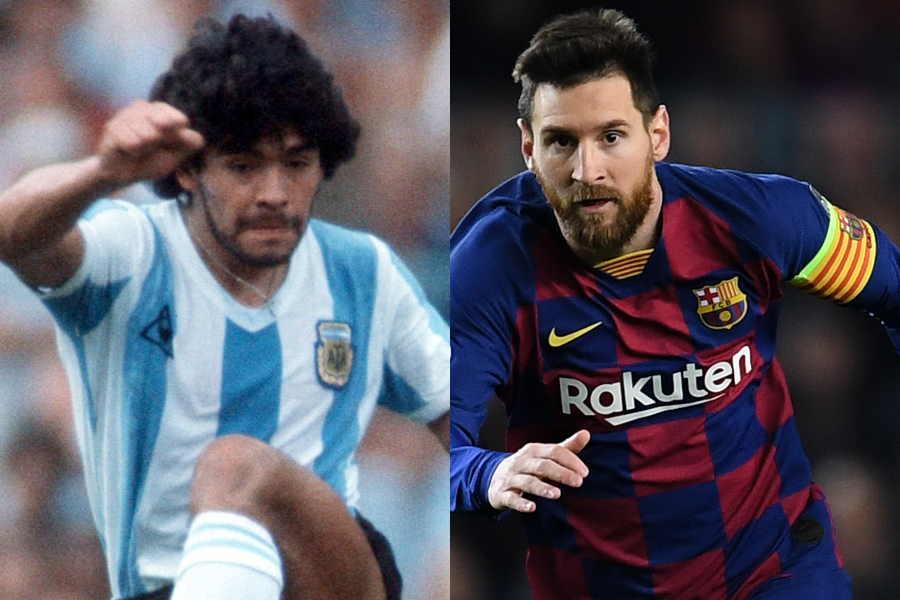 """アルゼンチンの""""レジェンド""""マラドーナ(左)とメッシ【写真:Getty Images】"""