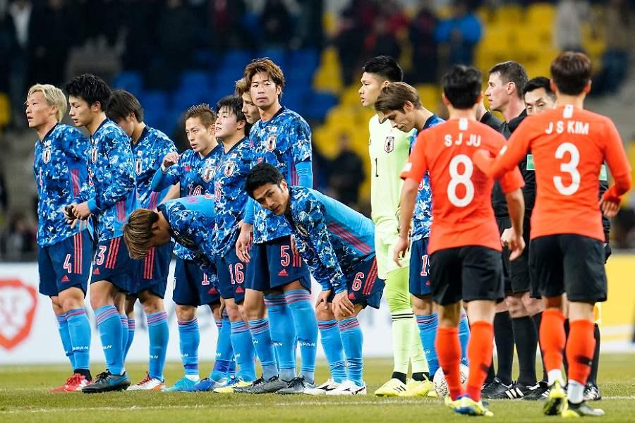 韓国戦に敗れた日本代表の選手【写真:Yukihito Taguchi】