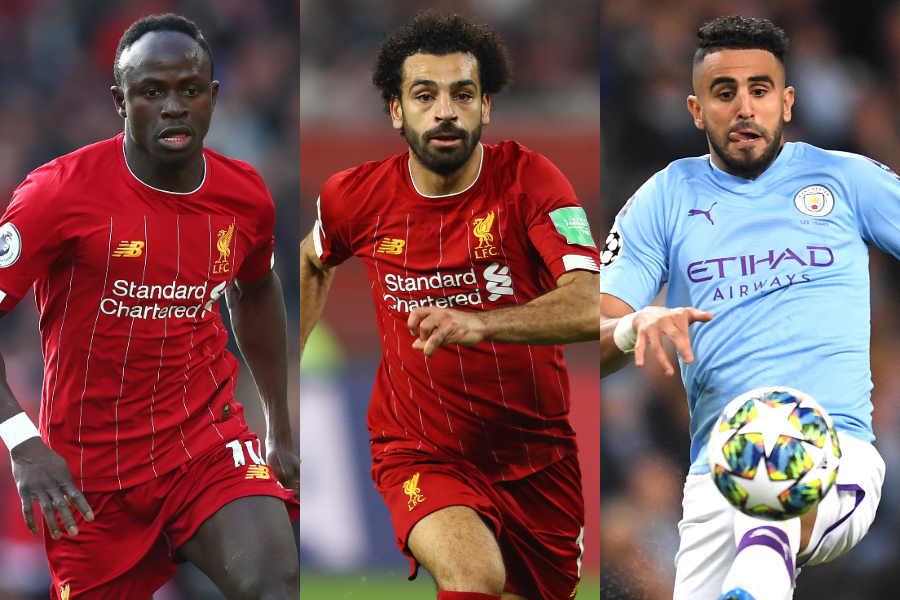 (左から)アフリカ年間最優秀選手賞の最終候補3人にノミネートされたマネ、サラー、マフレズ【写真:Getty Images】