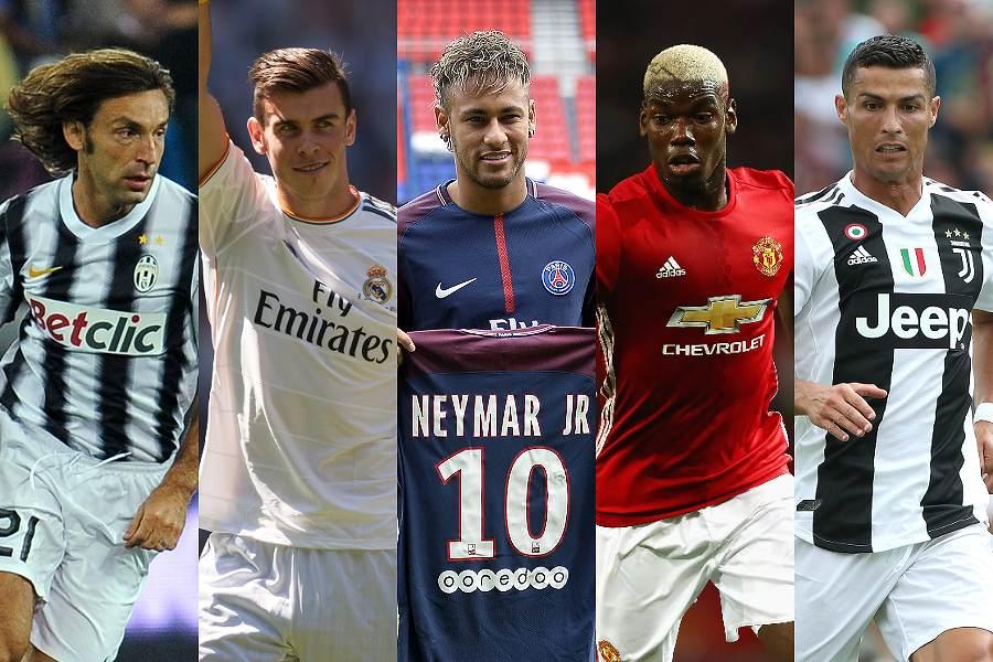注目される移籍をした左からピルロ、ベイル、ネイマール、ポグバ、C・ロナウド【写真:Getty Images】