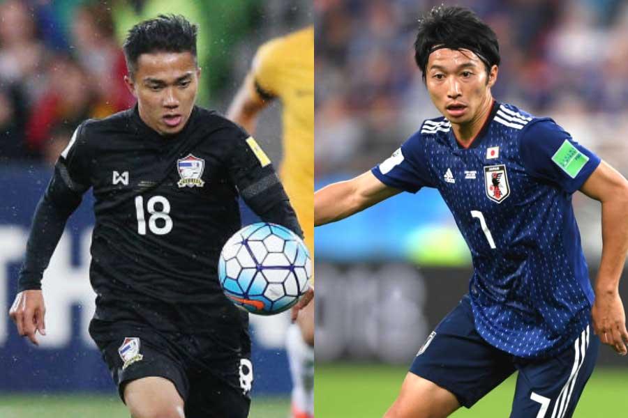 (左から)タイ代表MFチャナティップ、日本代表MF柴崎【写真:Getty Images】