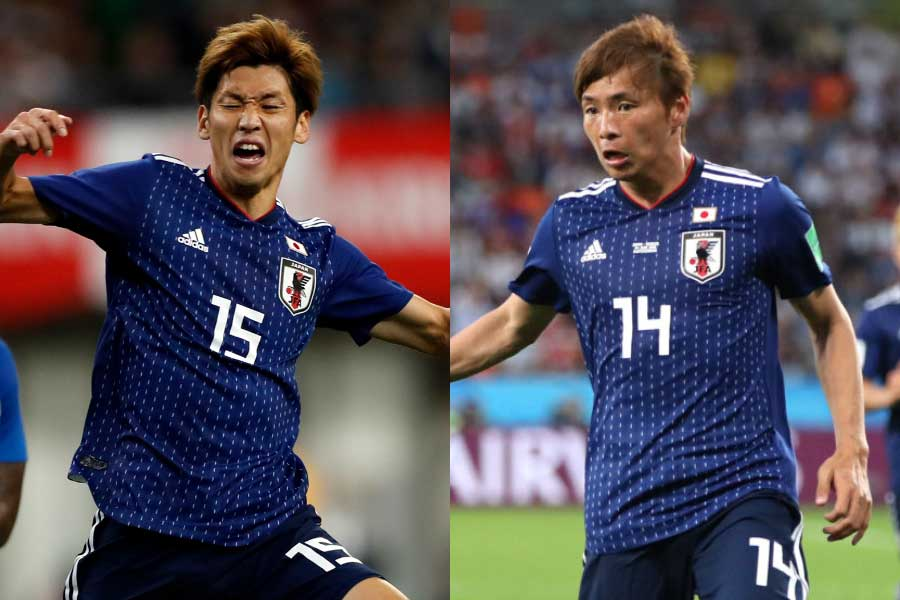 (左から)日本代表FW大迫、MF乾【写真:田口有史&Getty Images】