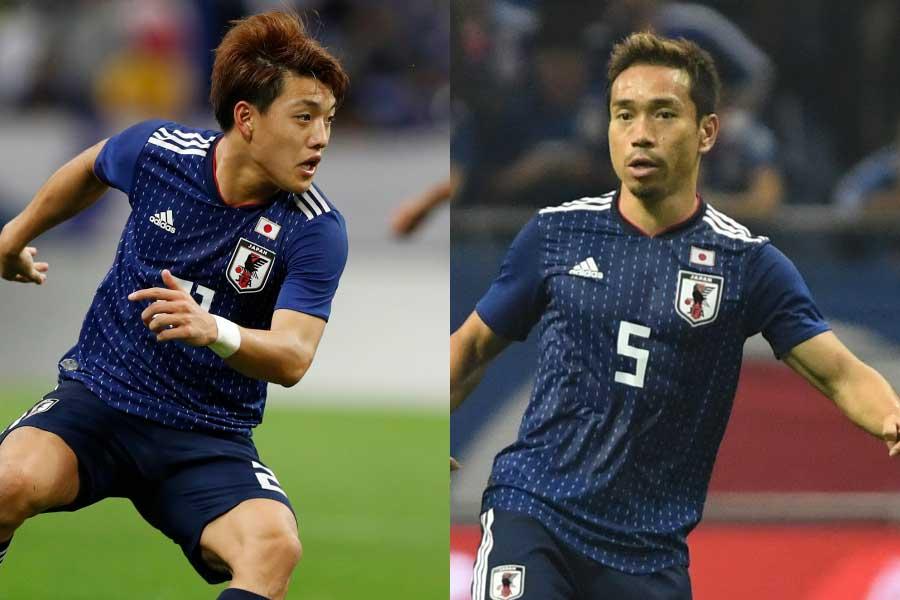 (左から)日本代表MF堂安、DF長友【写真:田口有史&Getty Images】