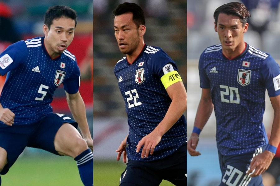 (左から)日本代表DF長友、DF吉田、DF槙野【写真:AP&ⒸAFC】