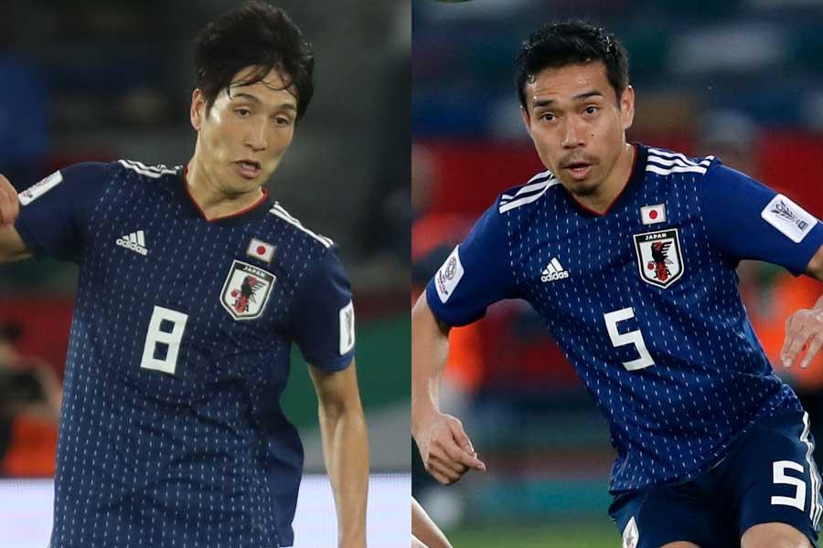 (左から)日本代表MF原口、DF長友【写真:ⒸAFC&AP】