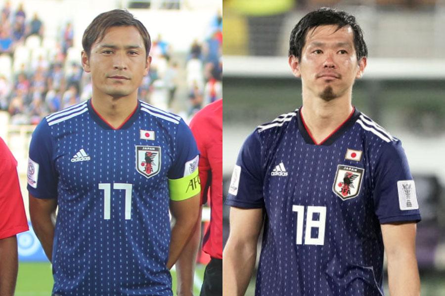 (左から)日本代表MF青山、DF塩谷【写真:ⒸAFC&Getty Images】
