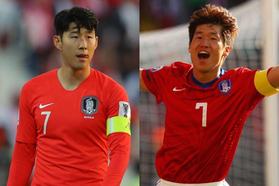 (左から)韓国代表FWソン・フンミン、元韓国代表MFパク・チソン【写真:Getty Images】