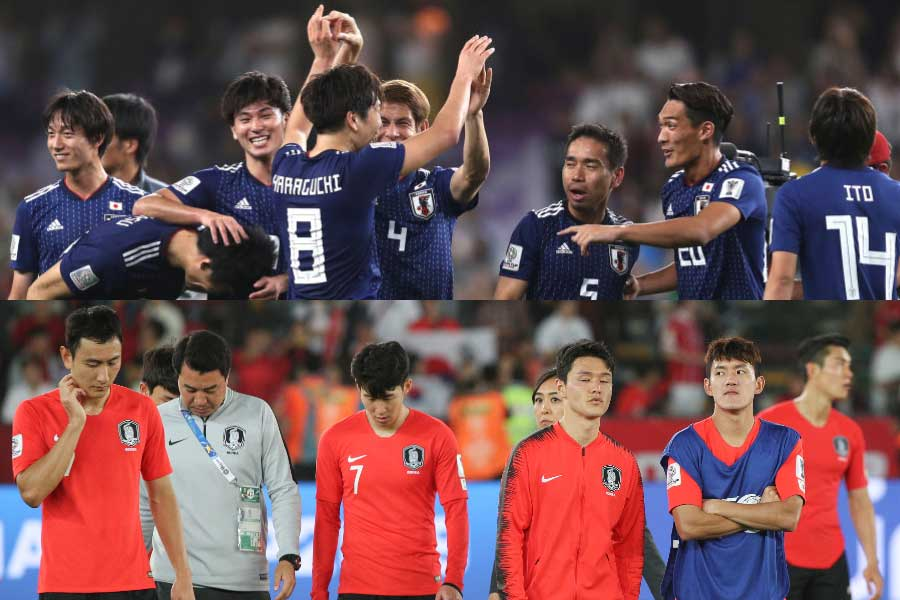 韓国メディアは、「成功の日本、失敗の韓国」と両国を比較している【写真:Getty Images&ⒸAFC】