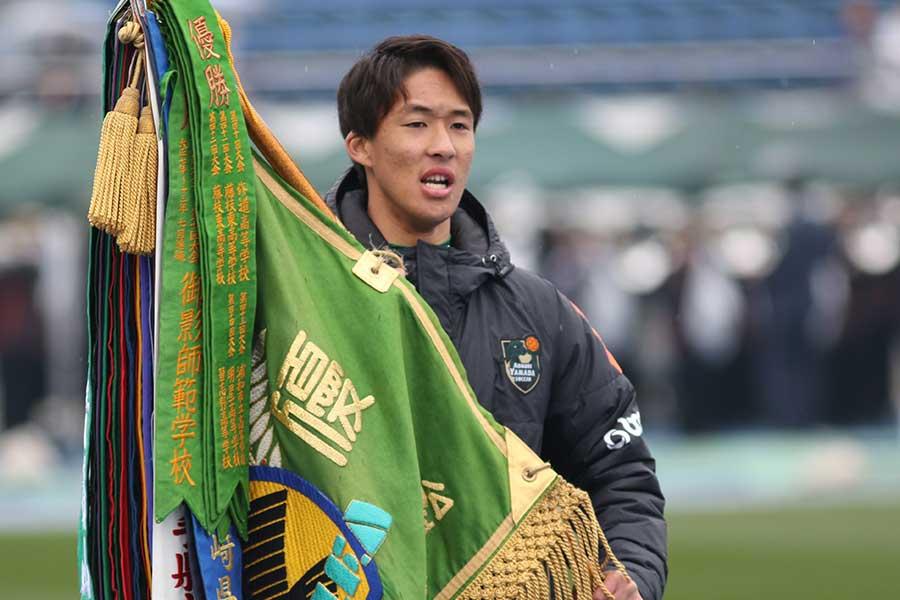 J1浦和レッズに加入が内定しているMF武田英寿(写真は入場行進時のものです)【写真:Football ZONE web】