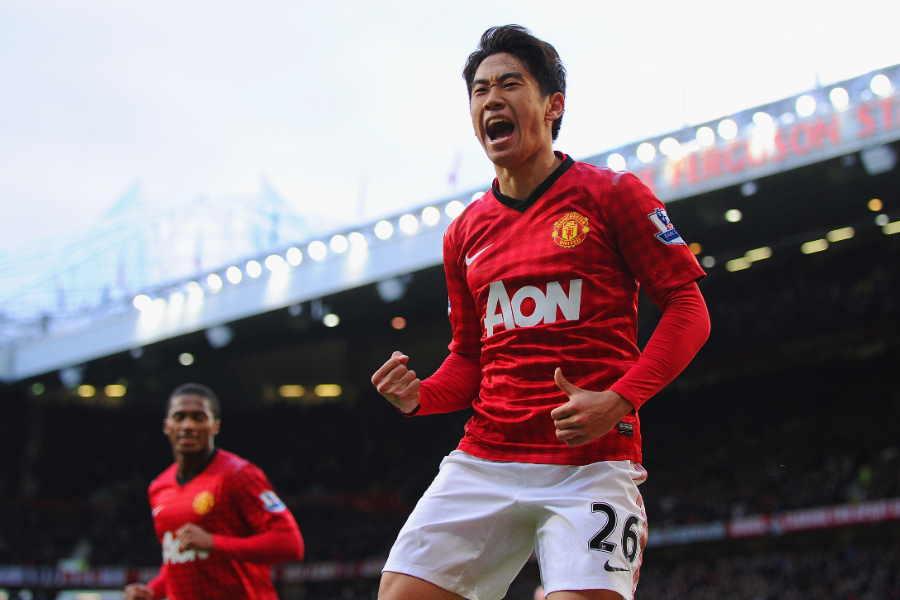 2012-13シーズンにアジア人選手として初のハットトリックを達成したマンU時代の香川真司【写真:Getty Images】