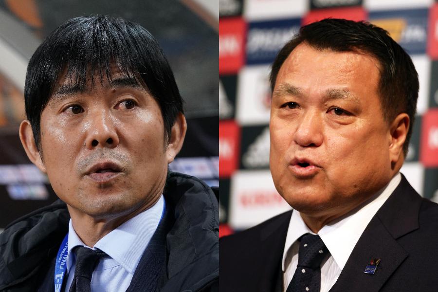 日本代表の森保一監督(左)とJFAの田嶋幸三会長【写真:Getty Images】