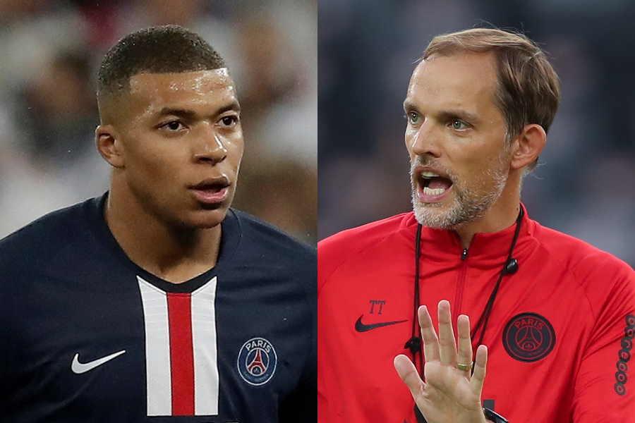 PSGのフランス代表FWキリアン・ムバッペ(左)とトーマス・トゥヘル監督【写真:Getty Images】