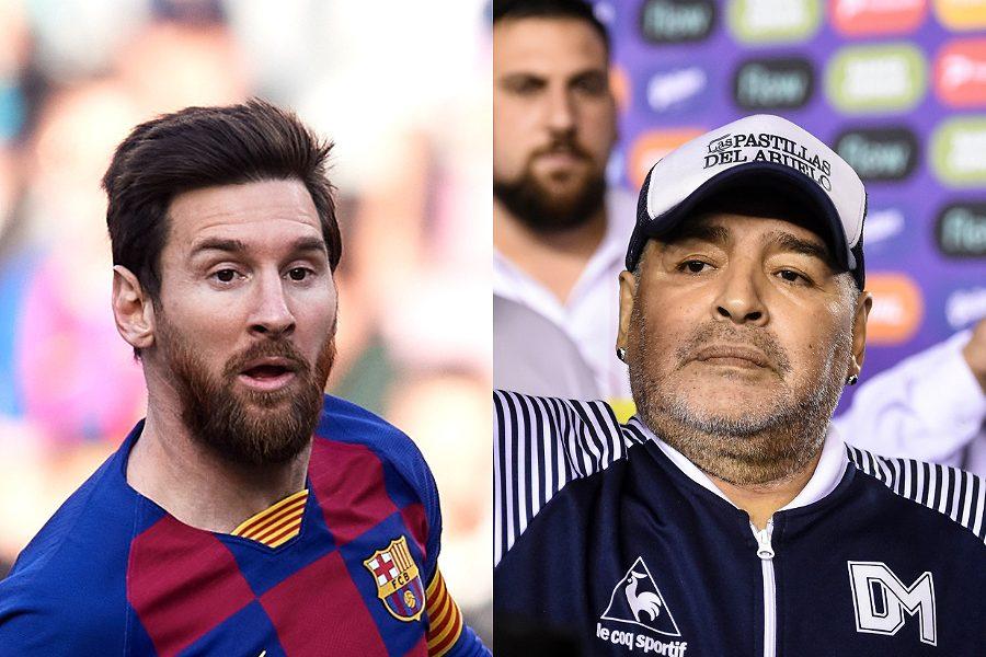 ジュニア氏が比較した父のマラドーナとメッシ【写真:Getty Images】