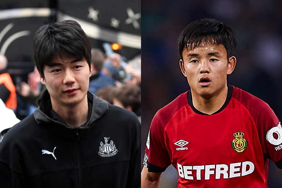 韓国代表MFキ・ソンヨン(左)と日本代表MF久保建英【写真:Getty Images】