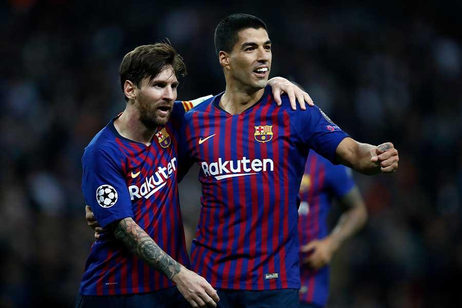 バルセロナで共にプレーをするFWルイス・スアレスとFWリオネル・メッシ【写真:Getty Images】