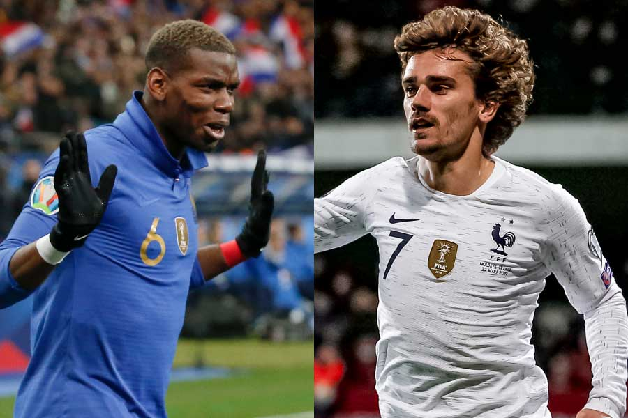 (左から)フランス代表MFポグバ、FWグリーズマン【写真:AP】