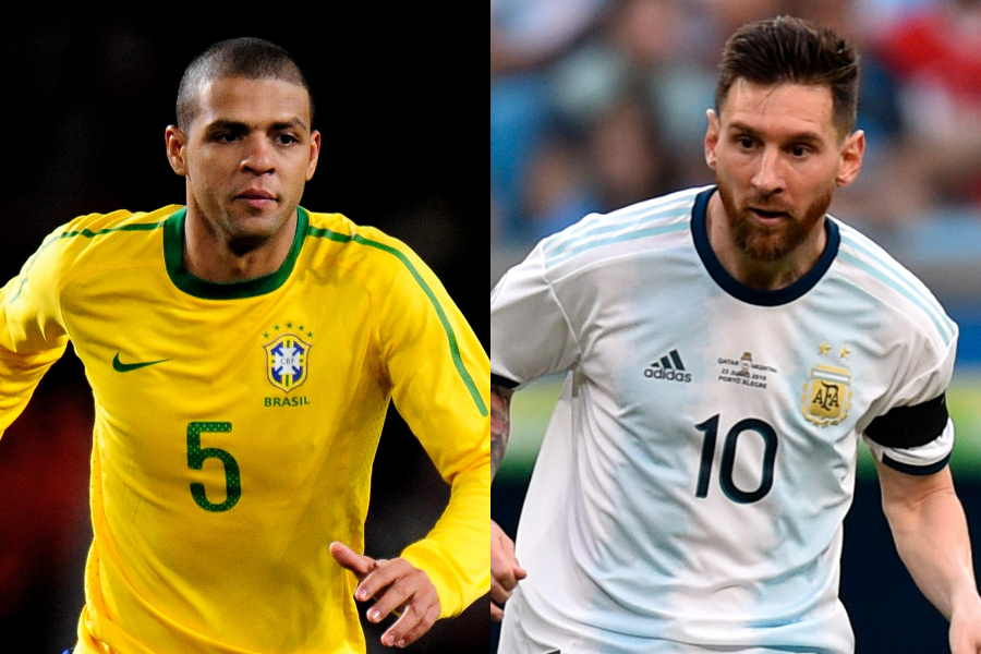 元ブラジル代表MFフェリペ・メロ(左)とアルゼンチン代表FWリオネル・メッシ【写真:Getty Images】