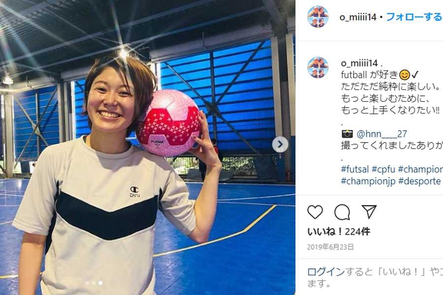 スペインの女子フットサルFSFモストレスでプレーする藤田実桜【※画像:本人公式Instagramのスクリーンショットです】