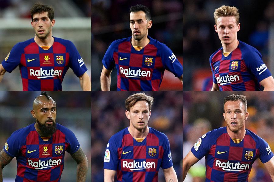 多くの優秀なタレントが顔を並べるバルセロナの中盤メンバーたち【写真:Getty Images】