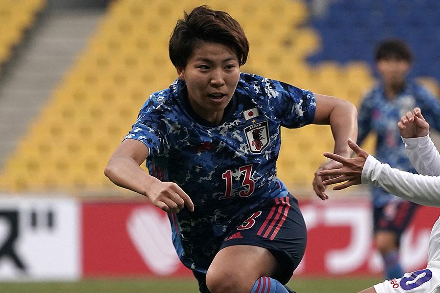 浦和レッズレディースに所属するDF清家貴子(写真は代表の時のもの)【写真:Getty Images】