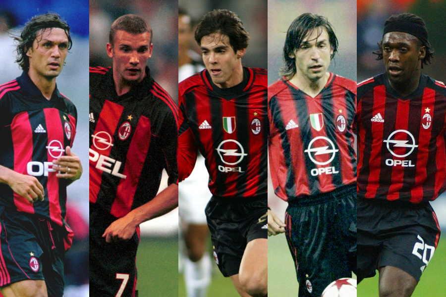 (左から)マルディーニ、シェフチェンコ、カカ、ピルロ、セードルフ【写真:Getty Images】