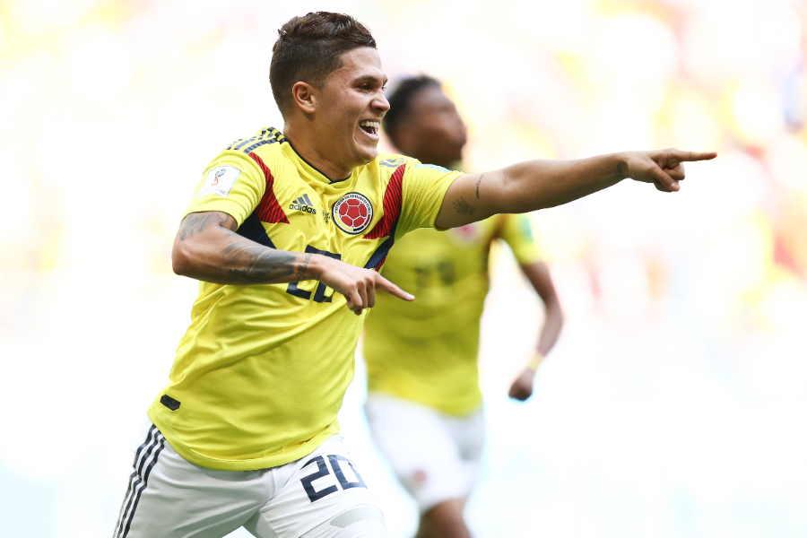 2018年W杯出場時のコロンビア代表MFキンテーロ【写真:Getty Images】