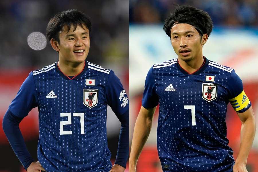 (左から)日本代表MF久保、MF柴崎【写真:浦正弘&Getty Images】